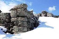 Minoisch altpalastzeitliche Ruine im Schnee, Region Kritsa © S. Beckmann
