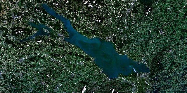 Satellitenaufnahme des Bodensees
