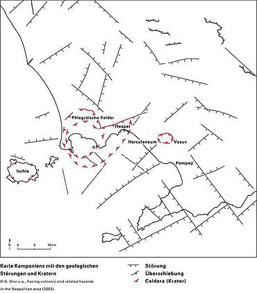 Abb. 1| Karte Kampaniens mit den geologischen Störungen und Kratern © G. Orsi u.a., aus: Facing volcanic and related hazards in the Neapolitan area (2003)