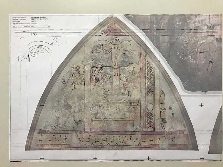 Zeichnung zur Westwand des Südquerhauses im Augsburger Hohen Dom