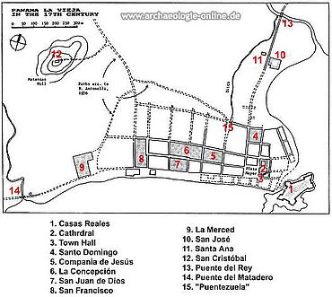 Plan von Panama la Vieja. (Grafik: nach Tejreira-Davis 1996)