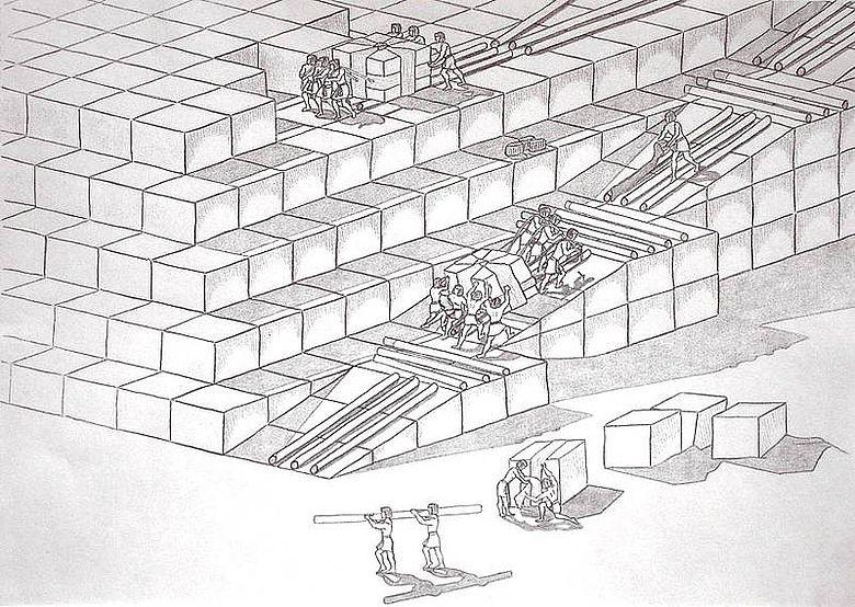 Arbeiter beim Transport der Pyramidensteine. (Zeichnung: Willburger)