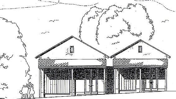 Planzeichnung der beiden römischen Streifenhäuser (Grafik: Römerkastell Saalburg)
