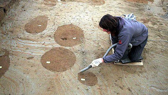 Planum der Grabungsfläche, auf dem sich die runden Pfostengruben deutlich abzeichnen © ADB