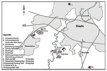 Karte des archäologischen Umfeldes (Zeichnung: Entwurf A. Schäfer, Zeichnung C. Duksch, Himmelpforten)