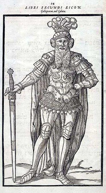 Ein »Gallogrieche« oder »Galater«, den Laziuzs mit einem Germanen gleichsetzt. Aus: Wolfgang Lazius, De aliquot gentium migrationibus. 1572 (Lippische Landesbibliothek und Staatsbibliothek Berlin)