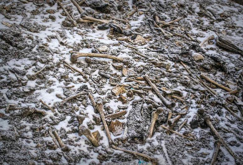 Knochen am Roopkund-See