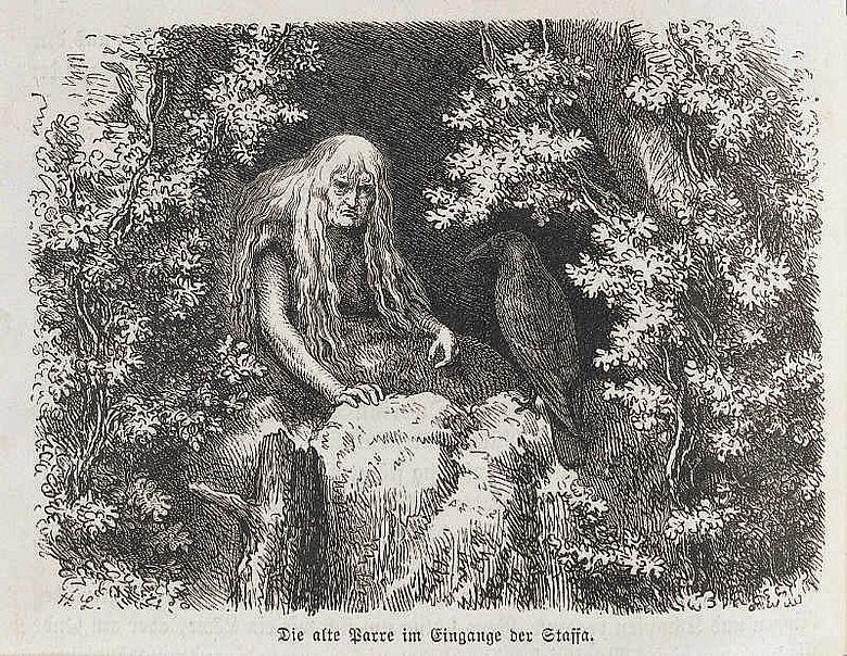 """Die alte Parre. Holzschnitt von Th. Knesing nach einer Zeichnung von H. Leutemann aus der Erstausgabe des """"Rulaman"""" von 1878."""