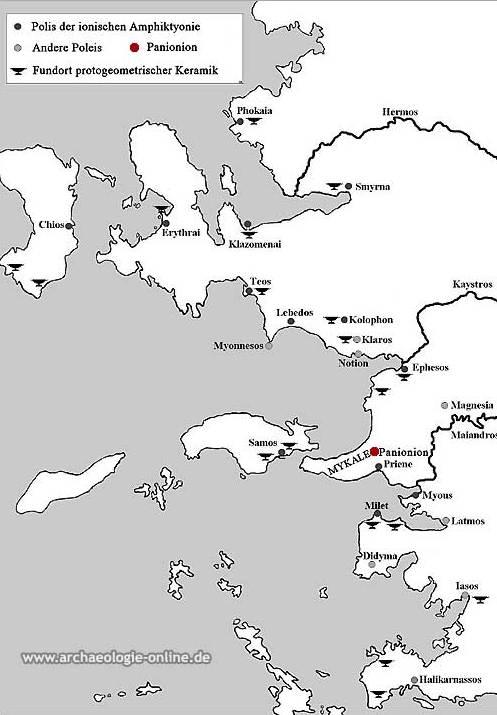 Der Fundort des Panionion an der Westküste der heutigen Türkei. (Karte: Inst. Arch. Wiss. RUB)