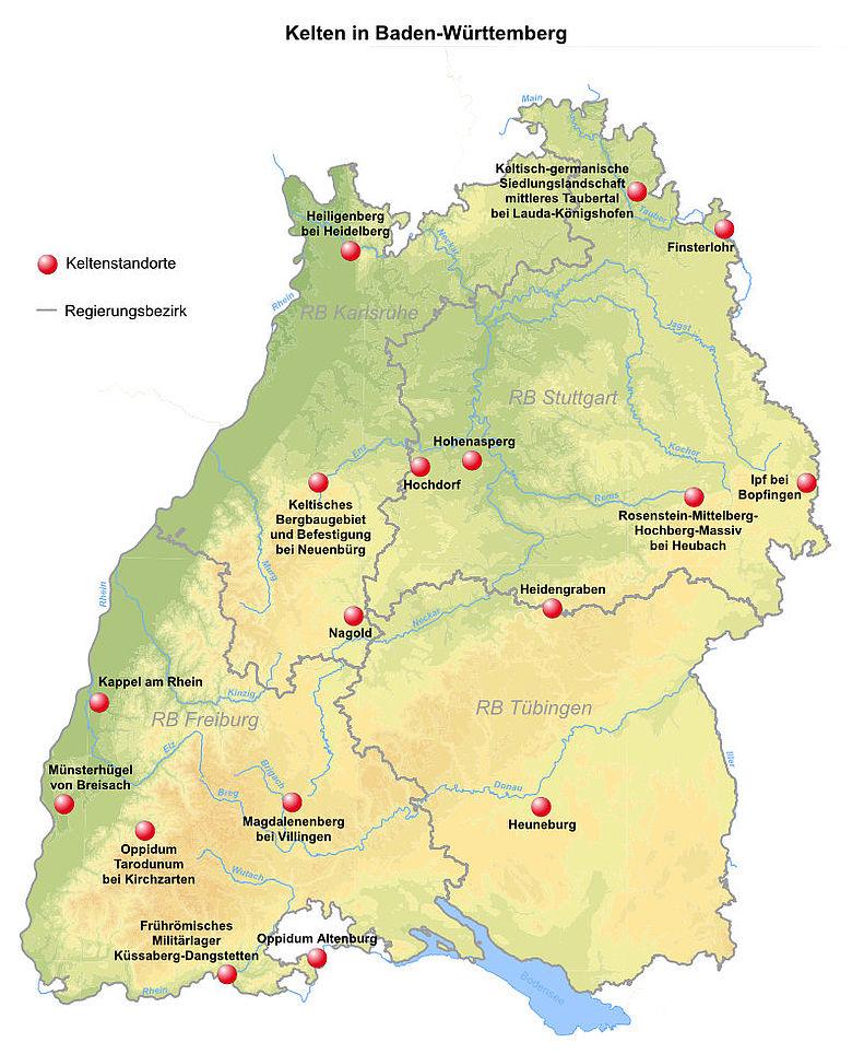 Wichtige Keltische Fundorte in Baden-Württemberg. Karte: Statistisches Landesamt Baden-Württemberg