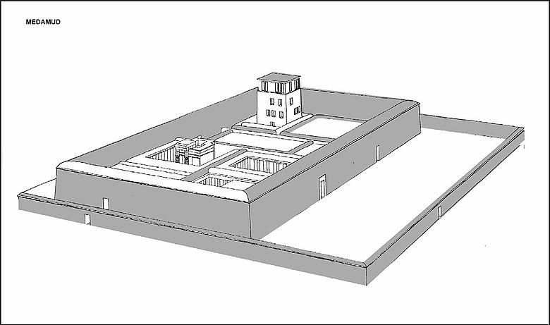 Rekonstruktionszeichnung des Month-Tempels von Medamud