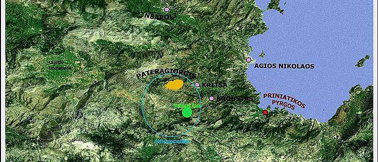 Abb. 1| Karte der Umgebung von Agios Nikolaos mit dem Gebiet der Berg-Minoer (blau), dem Historischen Landschaftspark Kroustas (grün) und dem in Abb. 2 gezeigten Ausschnitt der Flur Pateragiorgis (gelb) © S. Beckmann