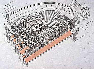 Teilrekonstruktion des Kolosseums in Rom anhand der bisherigen Ergebnisse der Bauforschung des DAI in Rom. (Grafik: DAI)