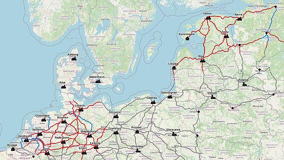 Mittelalterliche Fernhandelswege in Nordeuropa