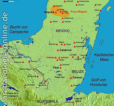 Die Halbinsel Yucatán mit den wichtigsten archäologischen Fundorten. (Karte: Universität Bonn)