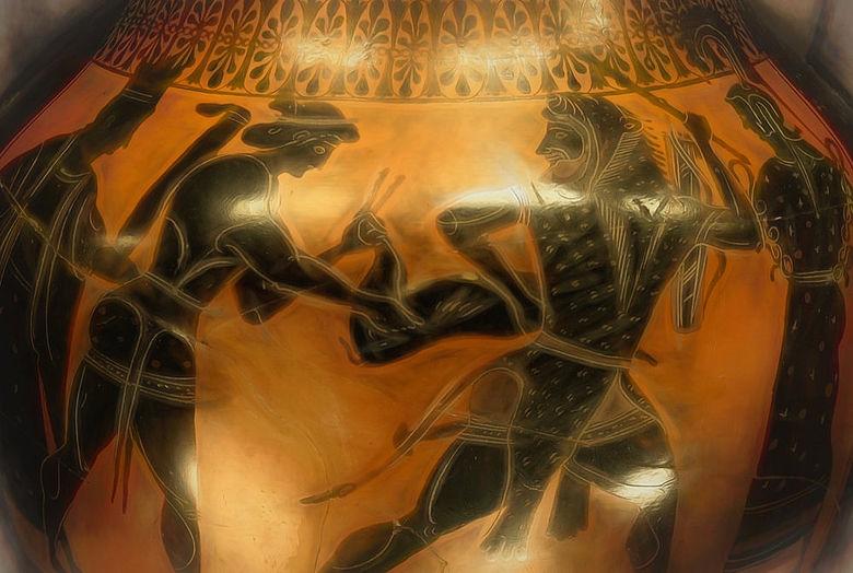 Darstellung von Herakles mit der kerynitischen Hirschkuh