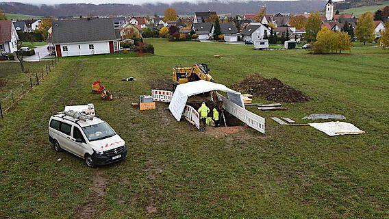 Das Grabungsgelände in Balgheim (Landkreis Tuttlingen)