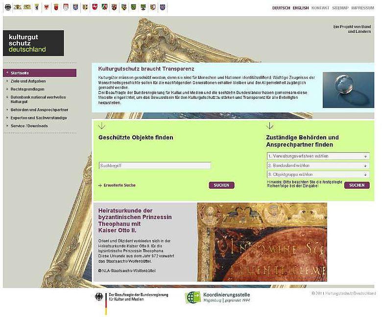 Homepage Kulturgutschutz Deutschland