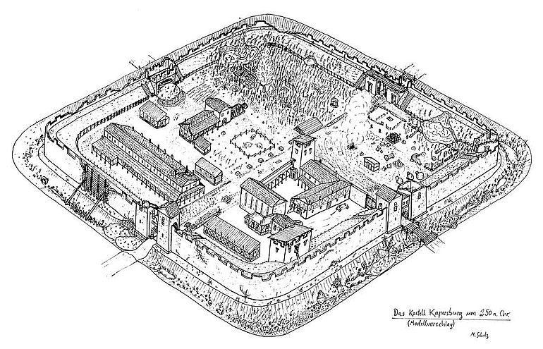 Rekonstruktionszeichnung Limeskastell Kapersburg um 250 n. Chr.