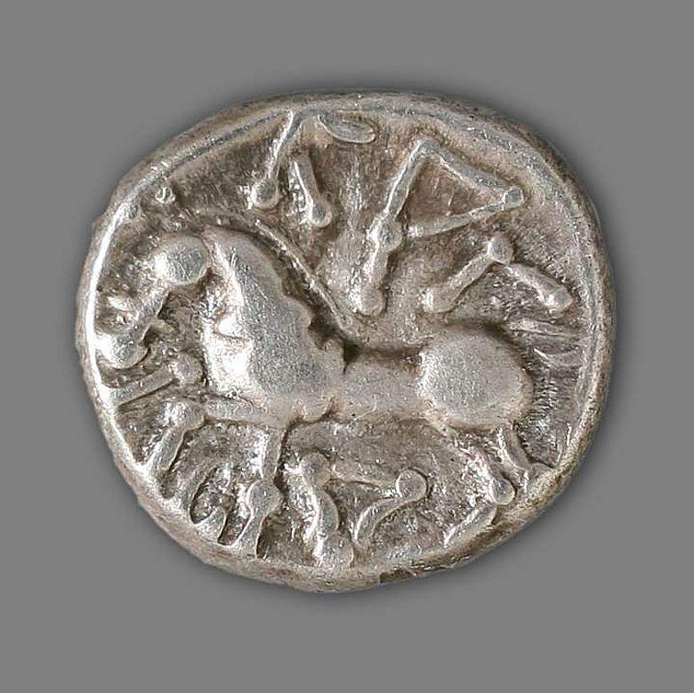 Das Pferd auf der Rückseite der keltischen Münzen besitzt kein direktes römisches Vorbild