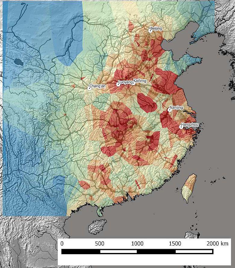 Netzwerkmodell der Fluss- und Landrouten im kaiserzeitlichen China (6.-19. Jh.)