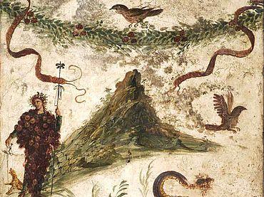 Abb. 3| Wandmalerei mit Bacchus und dem Vesuv, 68-79 n. Chr. Aus Pompeji, Haus der Jahrhundertfeier