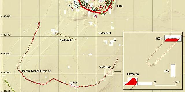Troia - Grabungsareale 2009 und spätbronzezeitliche Verteidigungsgräben (Plan: Universität Tübingen)