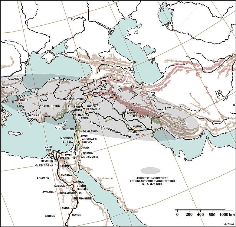 Karte: Ausbreitungsgebiete frühstädtischer Architektur