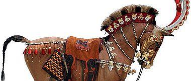 Kasachische Rekonstruktion eines geschmückten Pferdes aus Berel (Abbildung: Z. Samachev)