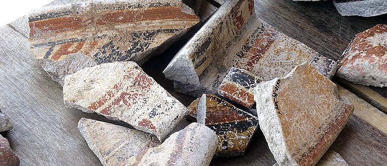 In Constitución lagern die Archäologen alle Fundstücke aus der Regenwaldstadt Uxul aus. Dort werden die Keramikscherben genauso wie die Obsidianfunde registriert und analysiert (Foto: Ewald Graf)