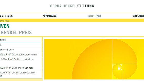 Gerda Henkel Preis (Homepage Screenshot)