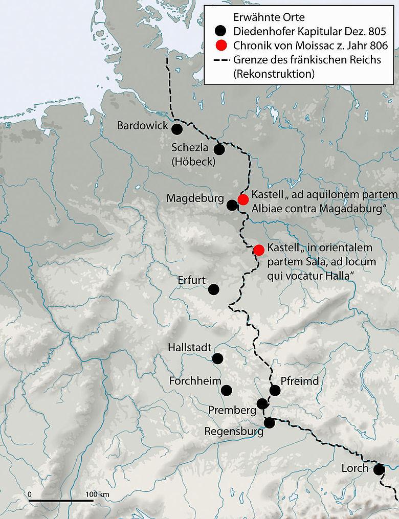 Ostgrenze des Fränkischen Reichs im 9. Jh.