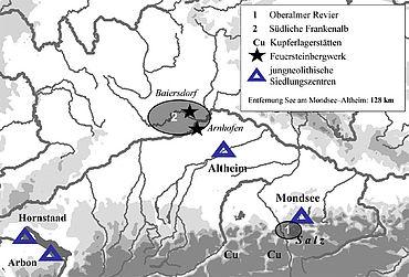 Lage des Mondsee-Oberalmer Reviers im Salzkammergut (Grafik: A. Binsteiner)
