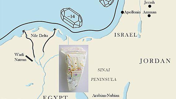 Die vereinfachte Grafik zeigt den Transportweg von Sand entlang der Levanteküste ausgehend von der Nilmündung