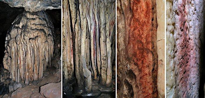 """Tropfsteinformationen im """"Sala de las Estrellas"""" in der Höhle """"Cueva de Ardales"""" (Malaga, Andalusia) mit Spuren roter Pigmente"""