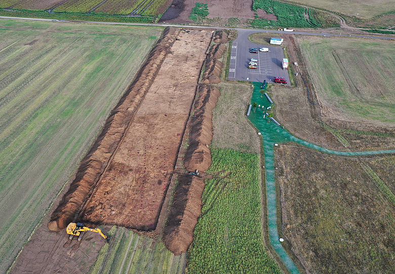 Ausgrabung am Ringheiligtum Pömmelte (Luftbild)