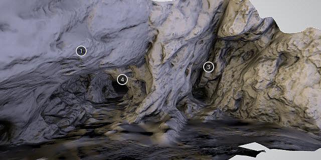 3D-Modell des Eingangs zum paläolithischen Fundplatz Hohlenstein-Stadel im Lonetal