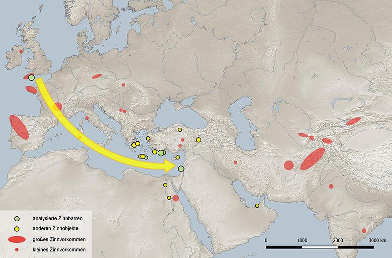 Verbreitungskarte Zinnfunde und -vorkommen der Bronzezeit