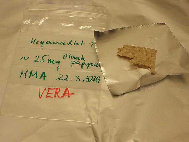 Probe eines Papyrus des Metropolitan Museum of Art (Foto: Universität Wien)