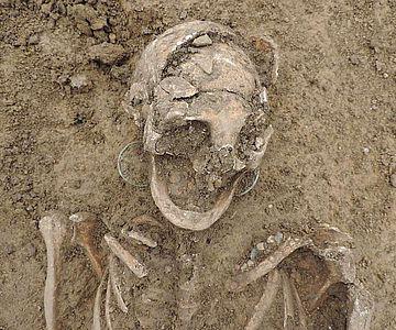 Detail des Schädels mit Ohrringen und Perlen des frühmittelalterlichen Frauengrabes