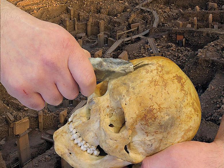Schädel wird mit Feuersteinmesser bearbeitet (fiktive Collage)