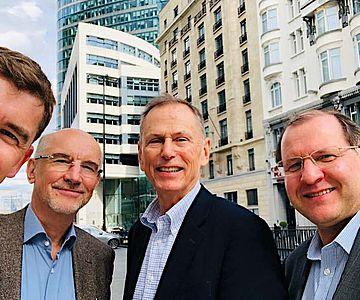 Die leitenden Wissenschaftler von HistoGenes (von links nach rechts): Johannes Krause, Walter Pohl, Patrick Geary und Tivadar Vida