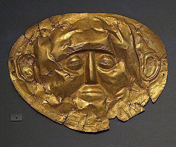Goldmaske aus Grab IV des Gräberrunds A in Mykene