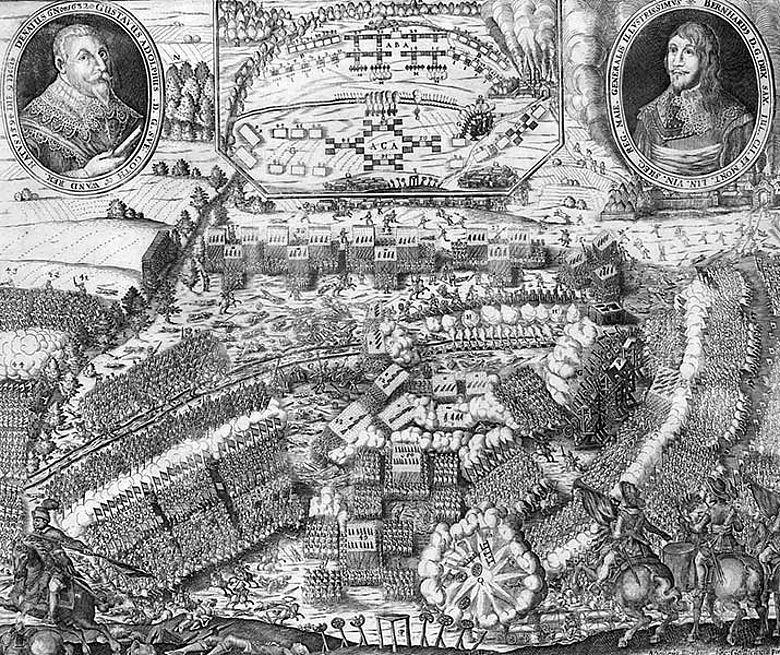 Zeitgenössische Darstellung der Schlacht von Lützen