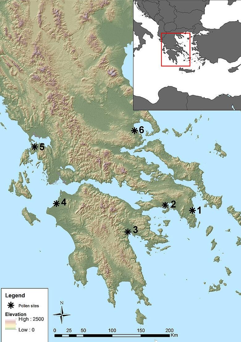 Die Karte zeigt die Stätten, Südgriechenland, von denen die untersuchten Pollenproben stammen