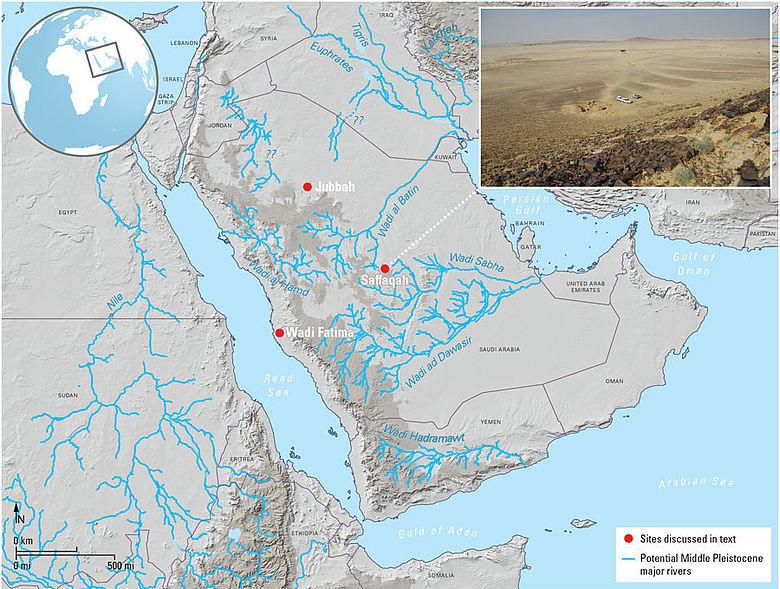 Karte der Fundstellen in Saudi-Arabien