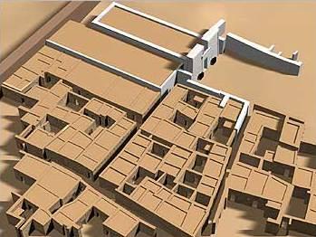 Virtuelle Rekonstruktion des Tempels und bisher erfassten Stadtgebietes. (Rekonstruktion: Hamadab Expedition und Art+Com)