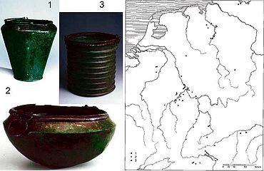 Verbreitung importierter Bronzegefäße in der älteren vorrömischen Eisenzeit. (nach NORTMANN 1993, 233 Abb. 15; Hinzufügung der Gefäße S. Möllers)