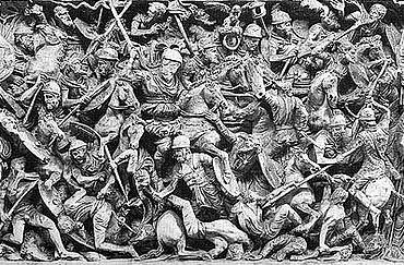 Römer metzeln Fremde (sogenannte Barbaren) nieder: Relief auf einem stadtrömischen marmornen Schlachtsarkophag, um 190 nach Christus. (Foto: Archäologische Sammlung Uni Freiburg)