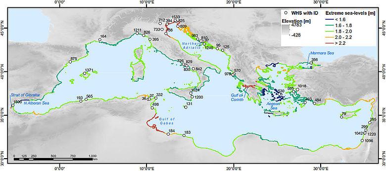 Karte der durch Meerespiegelanstieg gefährdeten UNESCO Welterbestätten